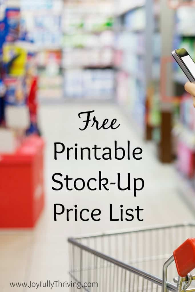 Free Printable Stock-Up Price List - If you really want to save money on groceries, you need to stock-up when prices are at their lowest. This free printable list will help you know when that is!