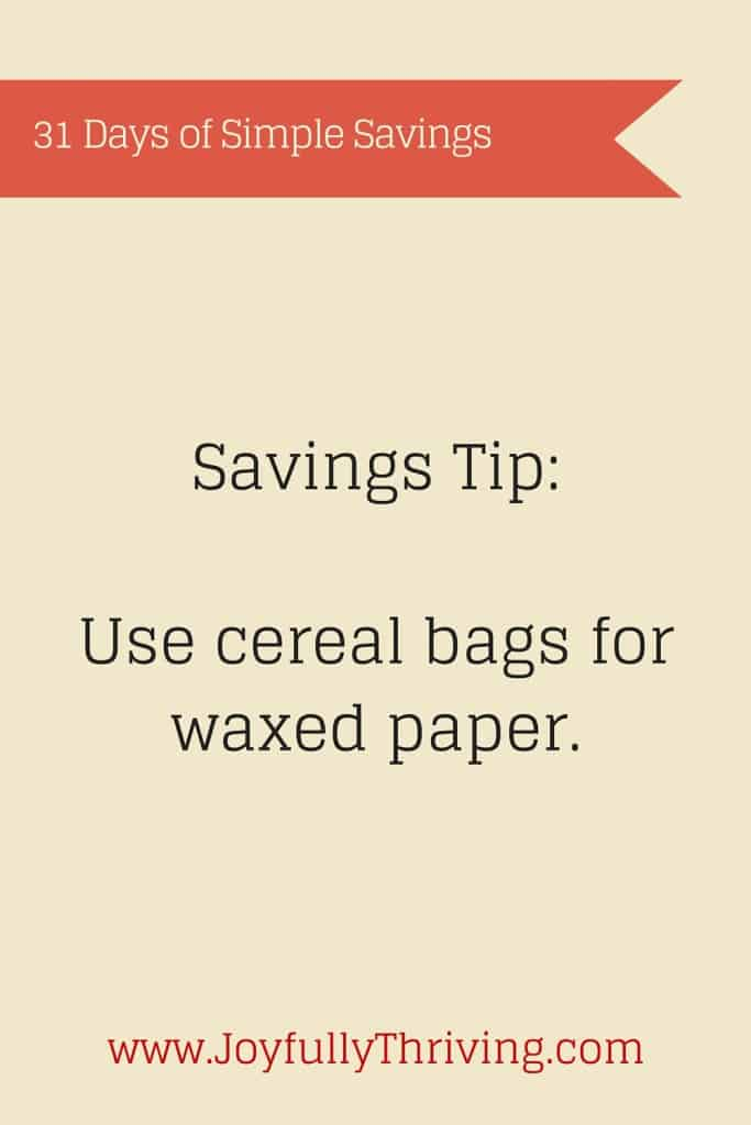 It's odd but it works! Did you know you can use cereal bags for waxed paper? Here's how.