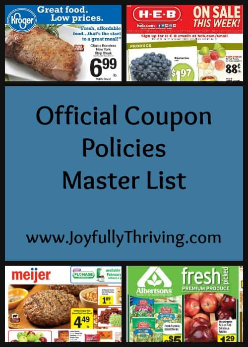 A growing list of 25 plus national stores official coupon policies. This is a resource every couponer should use! Know the policies of your stores so you can coupon correctly and maximize your savings!