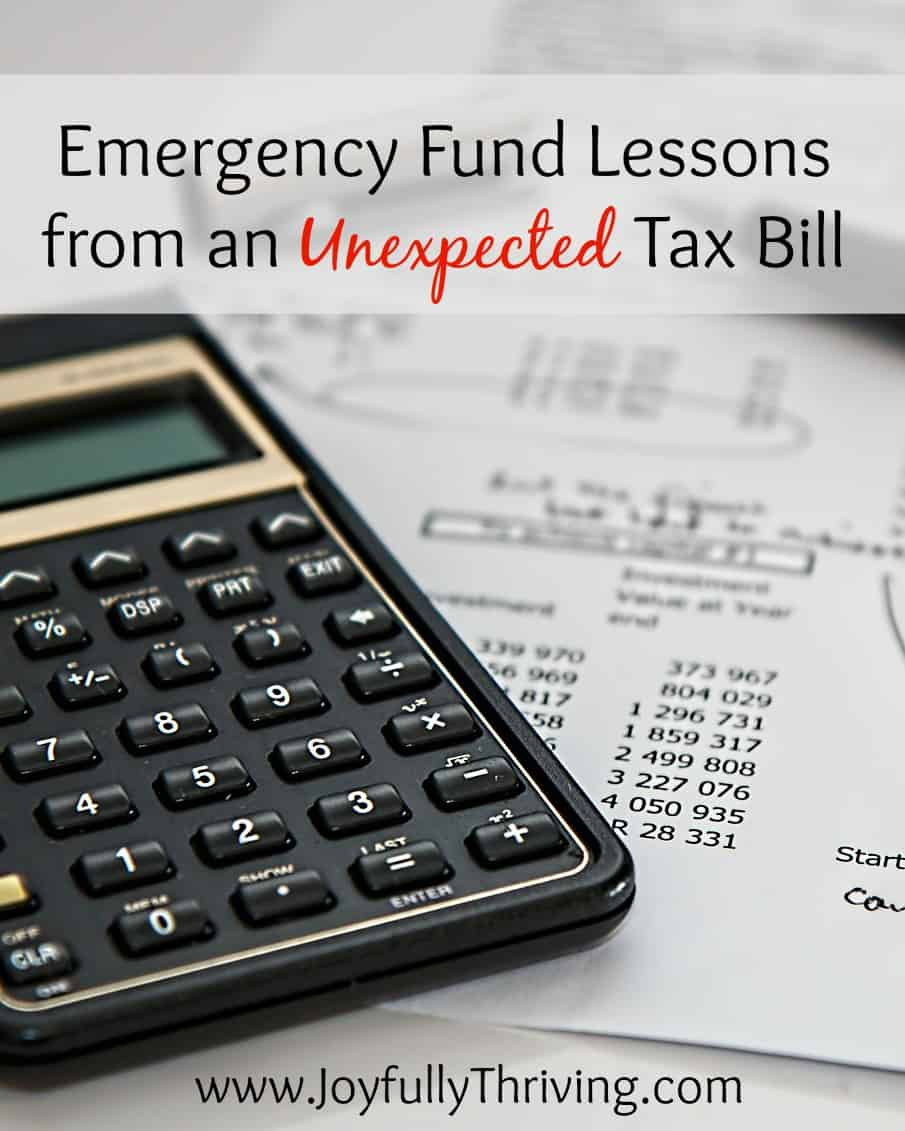 Emergency Fund Lessons from an Unexpected Tax Bill
