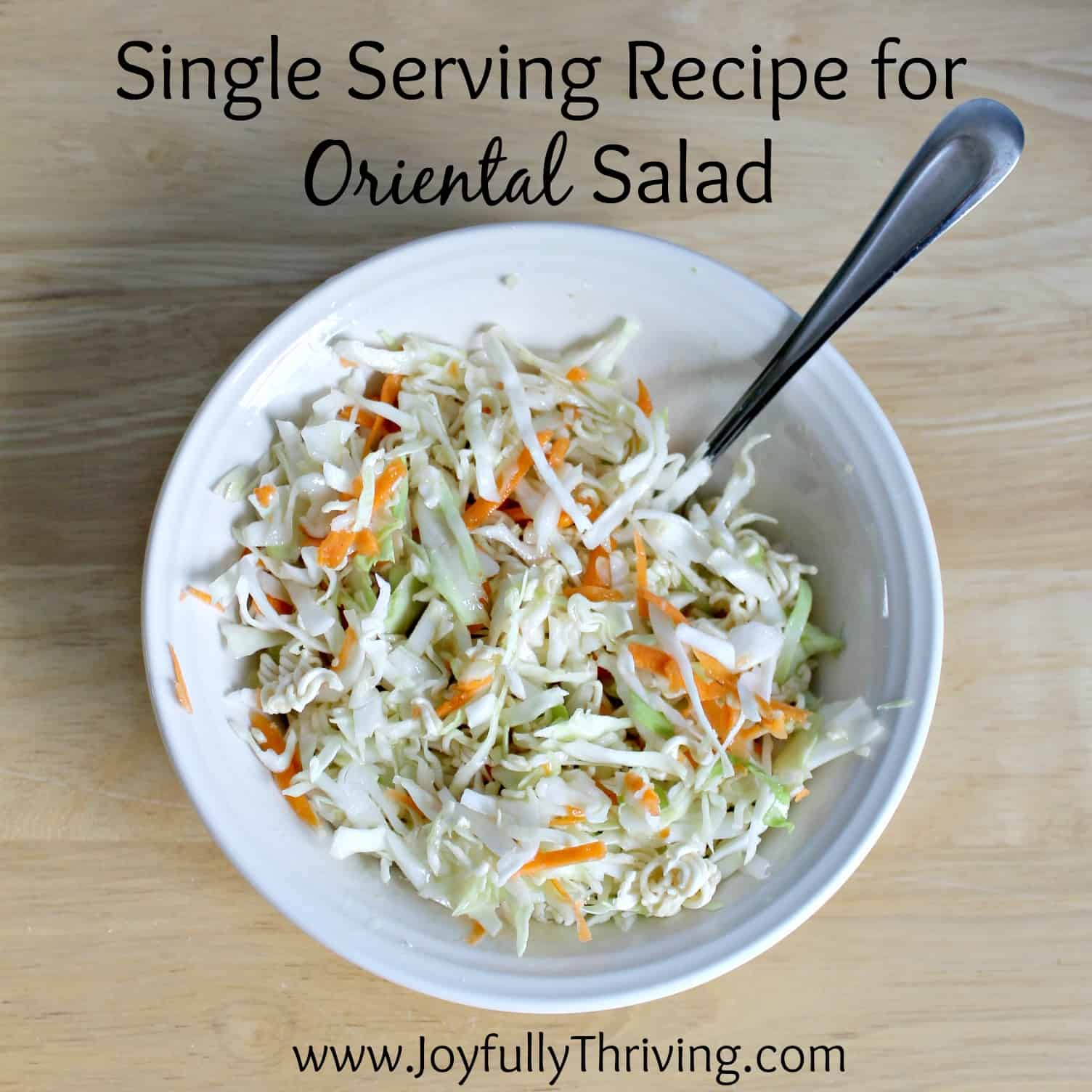 I love oriental salad but it gets soggy so quickly! Once I discovered this simple way to make a single serving of oriental salad, I haven't made it another way. Simple but brilliant!