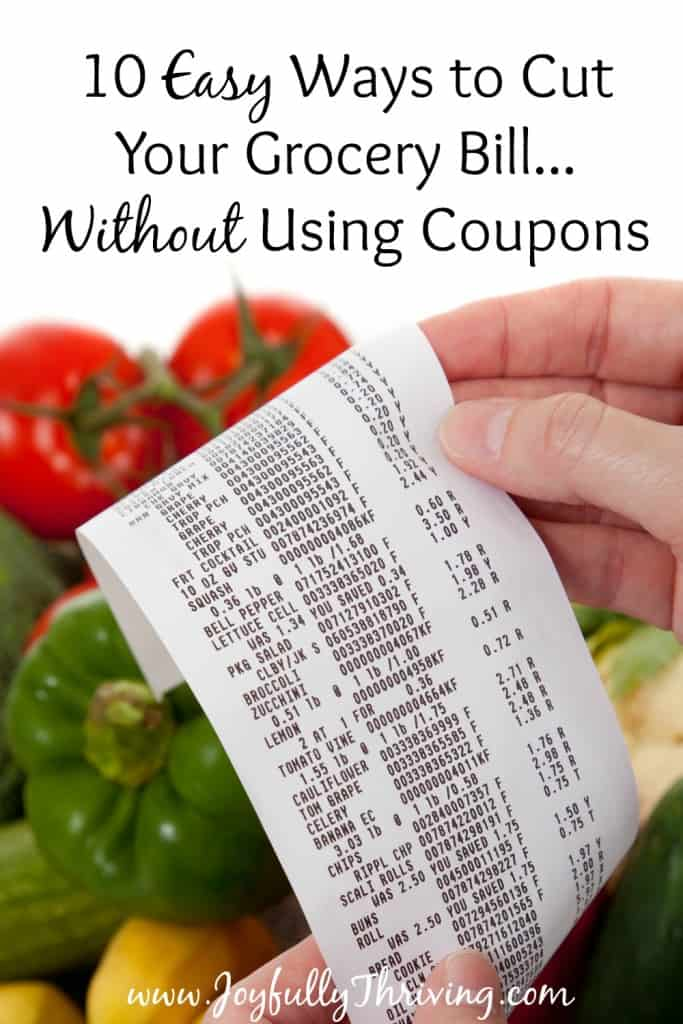 10 Easy Ways to Cut Your Grocery Bill Without Using Coupons - It is completely possible to save on your groceries without using coupons! Here are 10 easy ways to get started saving money immediately on your groceries!