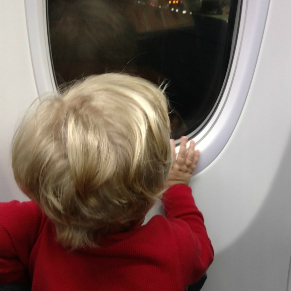 Looking out airplane window