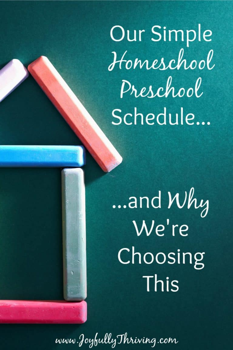 Our Simple Homeschool Preschool Schedule