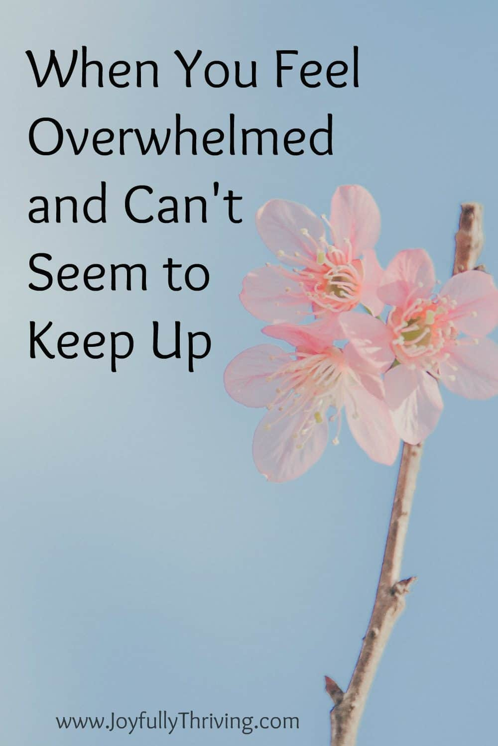 Encouragement for those days when you feel overwhelmed and can't seem to keep up with life around you.