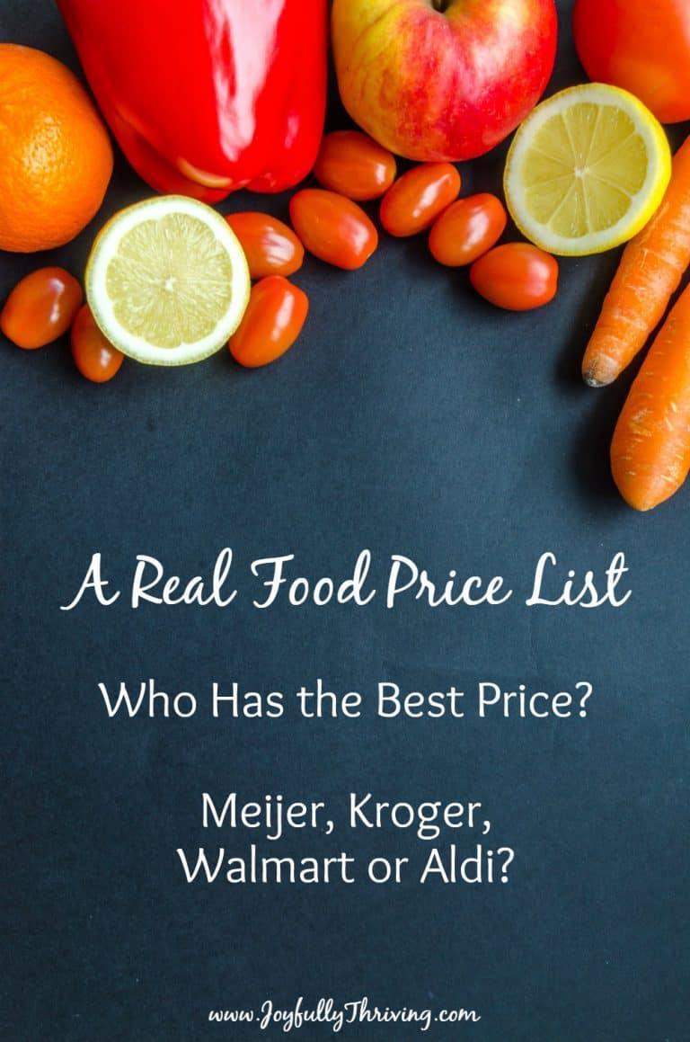 A Real Food Price List