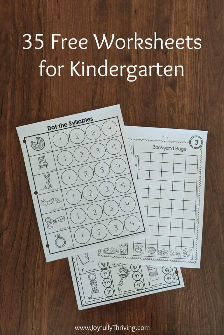 35 No Prep, Free Kindergarten Worksheets & Activities