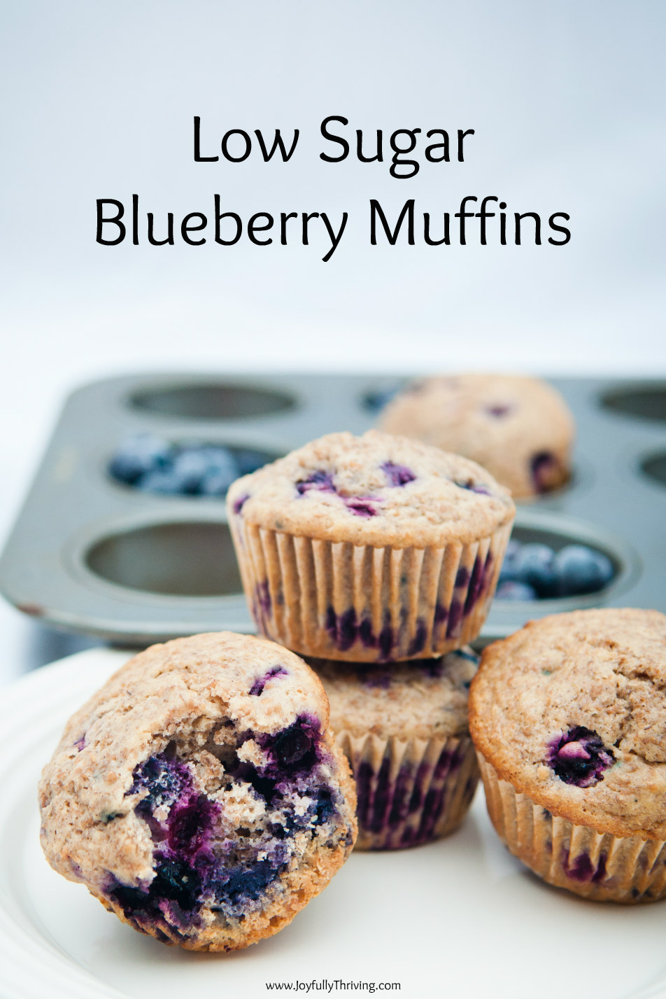 Blueberry Bran Muffins stacked in front of a muffin pan